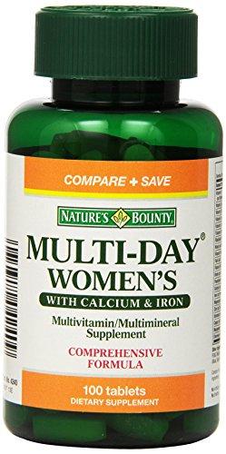Multi Journée Bounty femmes de la nature avec calcium et de fer, 100 comprimés (Pack de 2)