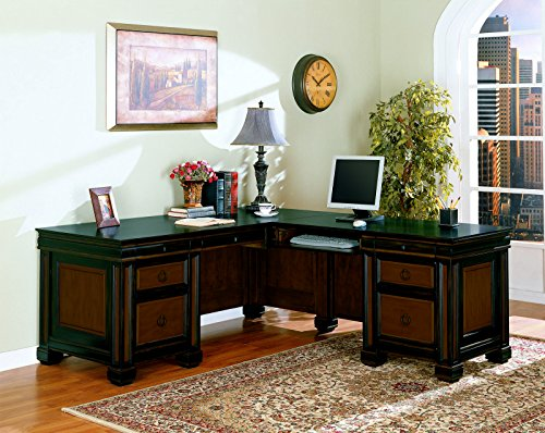 - Coaster Home Furnishings 800691 Ontario Coaster Tate Traditional Espresso L-Shaped Executive Desk, Red Brown