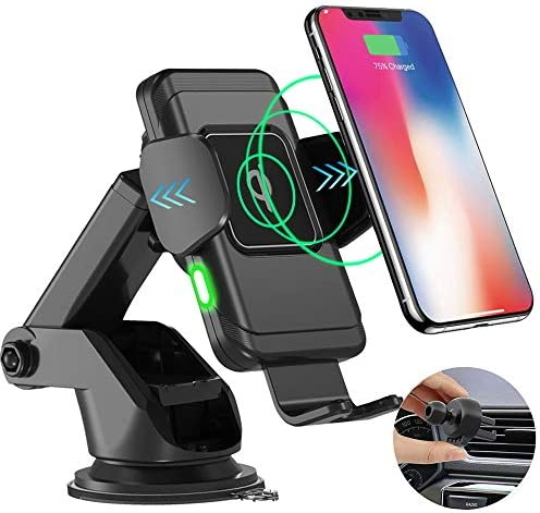 Automatic Clamping Wireless Car Charger, HALOViE 10W Fast Charging Qi Car Phone Mount Holder for Windshield Dashboard Air Vent for iPhone Xs MAX XS XR X 8 8 , Samsung S10 S10 S9 S9 S8 S8