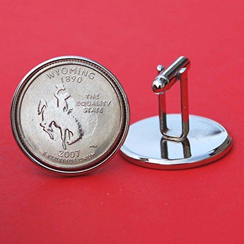 US 2007 Wyoming State Quarters Bu Unc Coins Cufflinks NEW