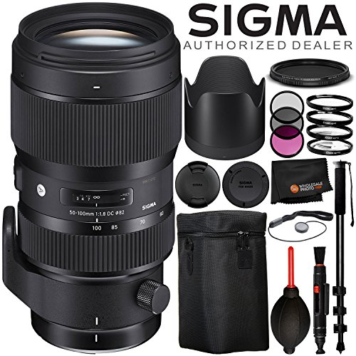 "Sigma 50-100mm f/1.8 DC HSM Art Lens for Nikon F – 8PC Accessory Bundle Includes 3PC Filter Kit (UV, CPL, FLD) + Variable Neutral Density Filter (ND2-ND400) + 72"" Monopod + Lens Cap Keeper + MORE"
