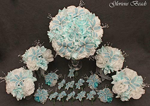 - Light Blue and White Beaded Lily Wedding Flower 18 piece package with White Roses ~ Unique French beaded flowers and beaded sprays
