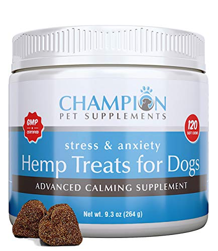 Calming Treats for Dogs | U.S.A Made | Hemp Oil Infused Soft Chews for Dog Anxiety Relief | Aids Stress, Fireworks Anxiety, Storms, Barking, Separation Anxiety & More | Organic Ingredients | 120 Count