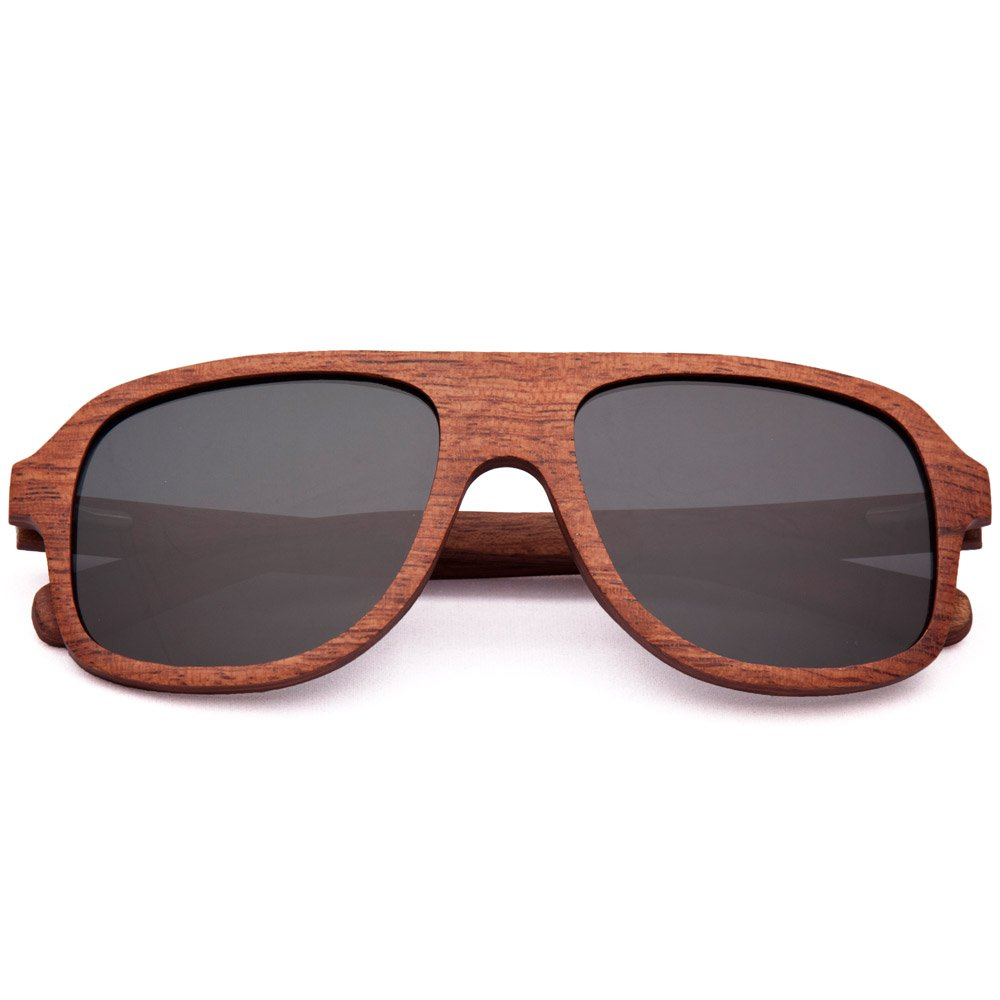 Red Rosewood Wood Worn Altitude Wood Sunglasses