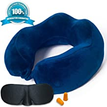 SOFTaCARE Neck Pillow Memory Foam Travel Pillow –Best Airplane Pillow For Airplane Travel – Premium Travel Pillow for Women & Men – The Neck Pillow Set with Sleep Mask and Earplugs. Fly with Comfort!
