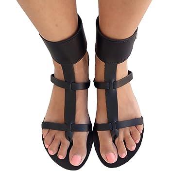 19902cd3f011 Chellysun Women T Strap Flat Sandals Ankle Strap Buckle Flip Flop Gladiator  Shoes
