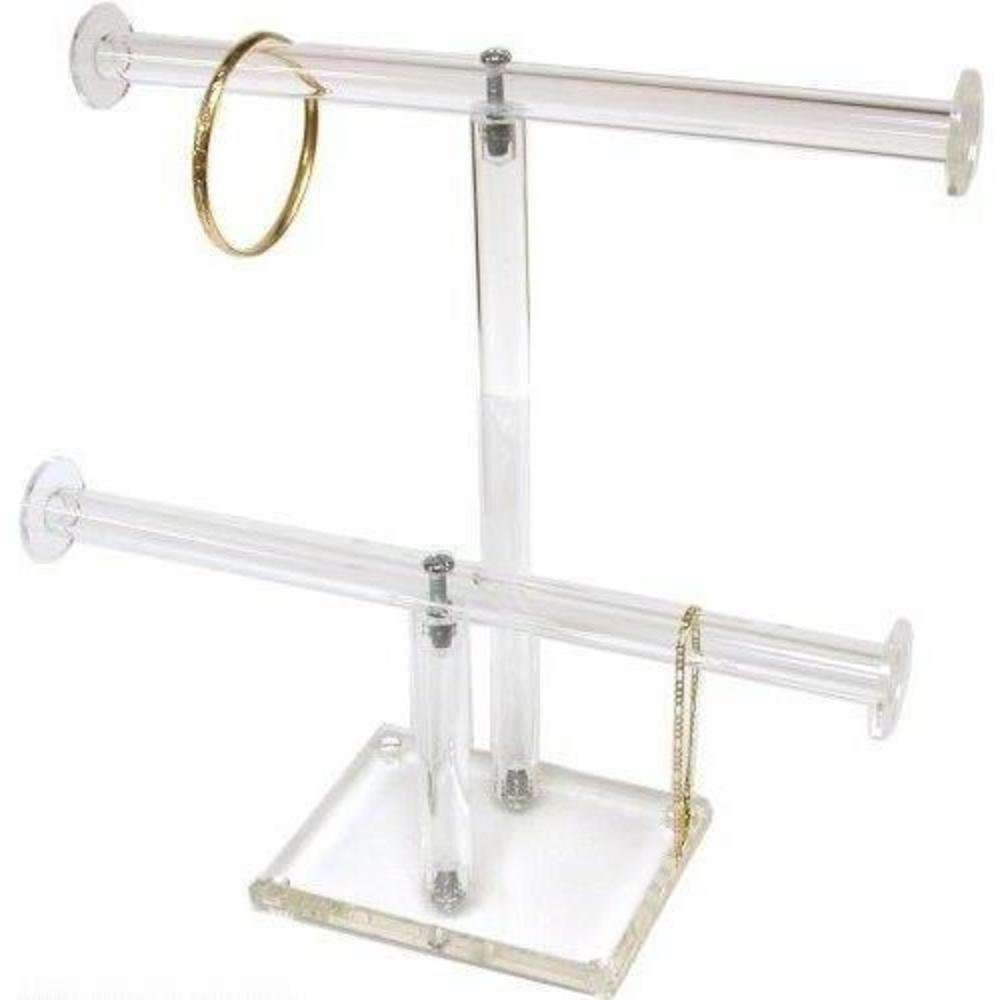 FindingKing 2 Tier Clear Acrylic T-Bar Bracelet Necklace Jewelry Displays Stands 1330