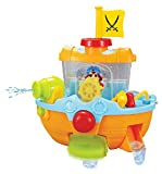 Wall Mountable Pirate Ship Bathtub Bath Toy for Kids with Water Cannon and Boat Scoop