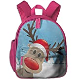 Haixia Teen's Boy's&Girl's Bookbag with Pocket Christmas Reindeer Rudolph with Red Nose and Santa Claus Hat Snowy Forest Decorative Light Blue Red Light Brown