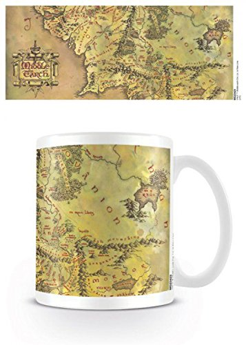- 1art1 Set: The Lord of The Rings, Journey Map, Middle Earth Photo Coffee Mug (4x3 inches) and 1x Surprise Sticker
