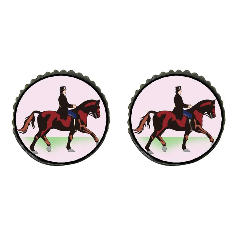 GiftJewelryShop Bronze Retro Style Olympics Equestrian rider with horse Photo Stud Earrings 10mm Diameter