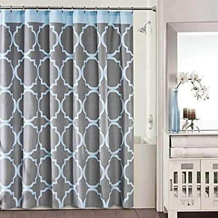 Amazon Studio 3B Jay Fret Shower Curtain In Grey Blue Home