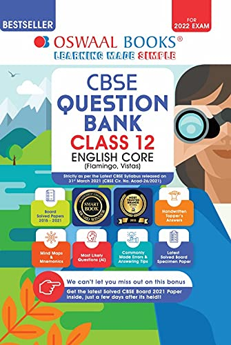 Oswaal CBSE Question Bank Class 12 English Core Book Chapter-wise & Topic-wise Includes Objective Types & MCQ's [Combined & Updated for Term 1 & 2]