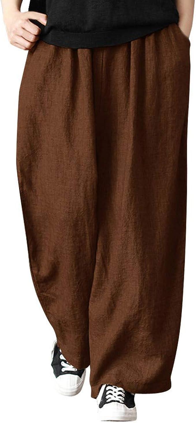 Amazon.com: Dunacifa - Pantalones de lino sueltos con ...