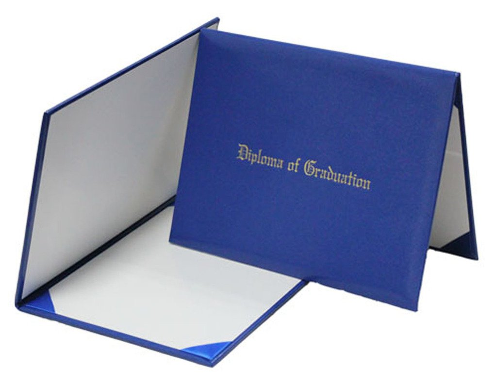 GraduationMall Certificate Cover With''Diploma Of Graduation'', 4 Ribbon Corner, Imprinted Diploma Cover 7'' x 9'' Royal