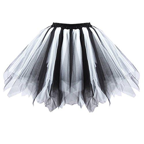 Mujeres Vintage Tutu Petticoat Falda Ballet Burbuja Falda Prom De La Ocasión Accesorio De Ocasión En blanco y negro