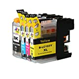Ink & Toner Geek ® - 4 Pack Compatible Replacement Inkjet Cartridges for LC-101 LC-103 LC-103 XL (LC-103BK, LC-103C, LC-103M, LC-103Y) Black Cyan Magenta Yellow For Use With Brother DCP-J132W DCP-J152W DCP-J172W DCP-J4110DW DCP-J552DW DCP-J752DW MFC-J245 MFC-J285DW MFC-J4310DW MFC-J4410DW MFC-J450DW MFC-J4510DW MFC-J4610DW MFC-J470DW MFC-J4710DW MFC-J475DW MFC-J650DW MFC-J6520DW MFC-J6720DW MFC-J6920DW MFC-J870DW MFC-J875DW (1 Black, 1 Cyan, 1 Magenta, 1 Yellow)
