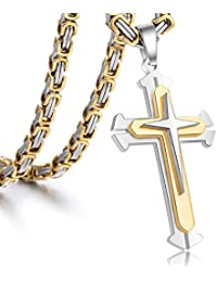 Jewelry Stainless Steel Cross Pendant Necklace Mens Boys Chain 5mm Byzantine Chain 22-30inch