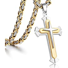 Trendsmax Jewelry Stainless Steel Cross Pendant Necklace Mens Boys Chain 5mm Byzantine Chain 22-30inch