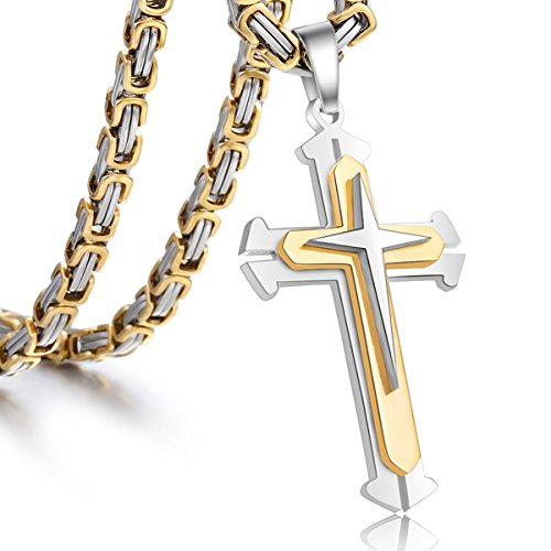 Trendsmax Polished Stainless Steel Gold Silver Cross Crucifix Pendant Necklace Chain For Mens Boys 5mm Byzantine Chain 22inch
