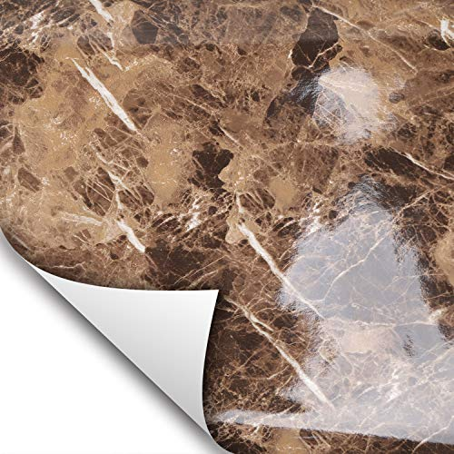 Wallstickery Marble Contact Paper for Counter top Faux Brown Yellow Gray Granite Wallpaper Gloss self Adhesive Sticky Stone Look Wall Stickers Removable Peel Stick Decorative cabinets (Brown + - Tiles Bathroom Decorative