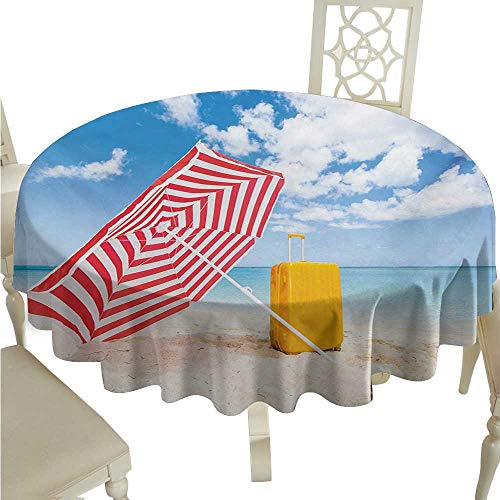 (Zodel Polyester Tablecloth Yellow and Blue Windy Sandy Beach with Sunshade and Trolley Summer Holiday Relax Picture Party D70 Suitable for picnics,queuing,Family)