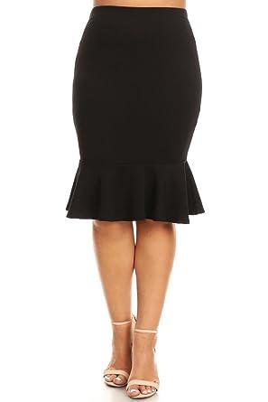 1a8eae424 Women's Plus Size Mermaid Hem High Waist Solid Pencil Skirt Made in USA (1X,