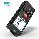 KAIWEETS 196ft M/In/Ft Laser Measure Digital Laser Tape Measure, Laser Distance Meters with Bubble Level and Backlit LCD for Pythagorean, Distance, Area and Volume Measuring, Mute function, Class II