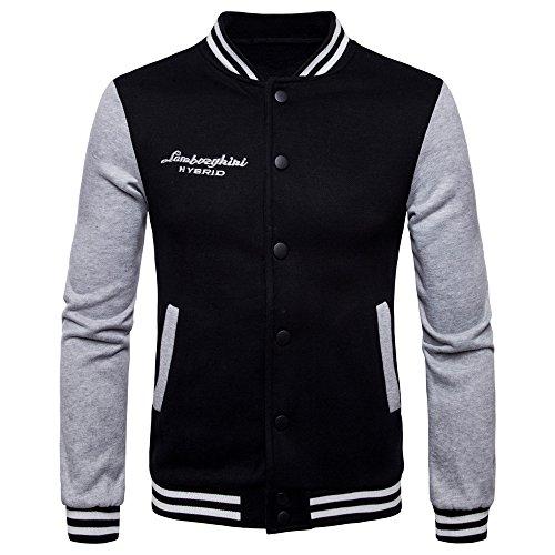 Hombre Cazadoras Sudaderas Juvenil Abrigos Universidad Chaqueta clothing Negro Jacket Beisbol Casual Patchwork COCO 1Oxtwt