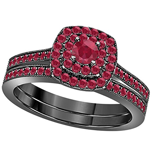 1 Ct Round Cut Cz Red Ruby 14k Black Gold Plated Wedding Bridal Set Double Halo Engagement Ring