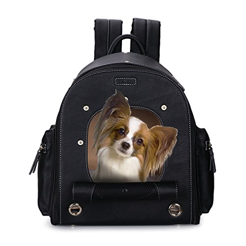 Dog Carrier Backpack, Pet Carrier Backpack, PetsHome Foldable Waterproof Premium Leather Pet Travel Pet Carrier Backpack for Cat and Small Dog Home & Outdoor Black