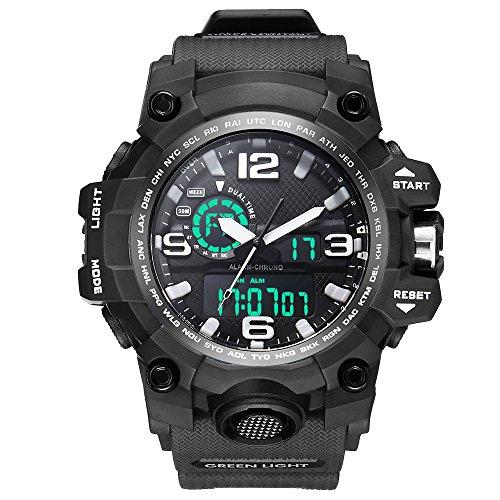 Bounabay Dual Dial Analog Digital Quartz Sport Watch Multifunction Shock Resistant Sport Watches for Men, Black ()