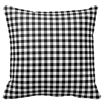 Amazoncom Black And White Gingham Pillow Checkered Pattern Throw