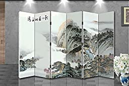 Oriental Style 6-panel Foldable Shoji Screen Room Divider, Chinese Traditional Painting, Mountain in Cloud