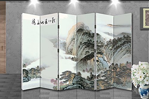 Oriental Style 6-panel Foldable Shoji Screen Room Divider, Chinese Traditional Painting, Mountain in Cloud - Shoji Multi Panel