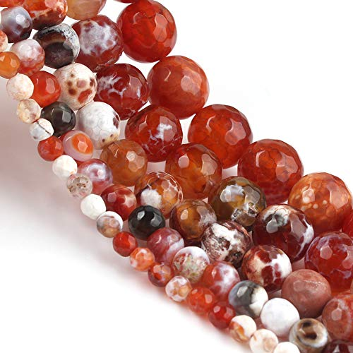 Yochus 10mm Faceted Red Fire Agates Round Stone Beads Natural Stone Beads for Jewelry Making