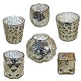 Mercury Glass Assorted Votive Candle Holders Vintage Metallic Tea Light (Set of 6) by GlideRite Hardware