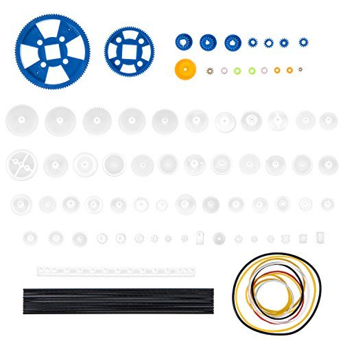 Bememo 80 Pieces Plastic Motor Gears DIY Toys Gear Set and 10 Pieces Stainless Steel Shafts Rod Kit for DIY Car Robot