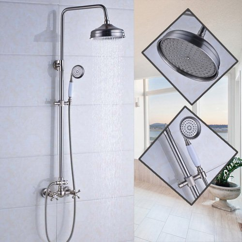 Senlesen Brushed Nickel Bathroom 8-Inch Rainfall Shower Head Faucet Wall Mounted Dual Handles with Handheld Sprayer Stainless Steel