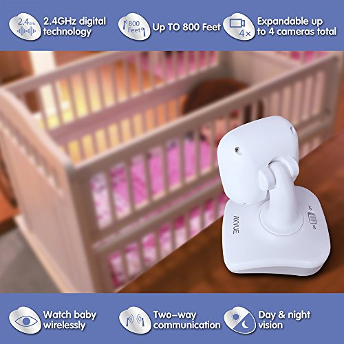 AXVUE E612 Video Baby Monitor with 4.3'' LCD Screen and Two Cameras, Night Vision, 800 ft. Distance and 8H Battery Life, Auto-Scan, Two Way Talk, View Angle Adj. , Power-saving Video ON/OFF by Axvue (Image #4)