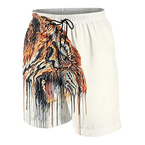 (Boy's Beach Swim Trunks Quick Dry - Abstract Tiger Painting Hotspring Surfing Shorts Bathing Suit with Pocket S(7-8) White)