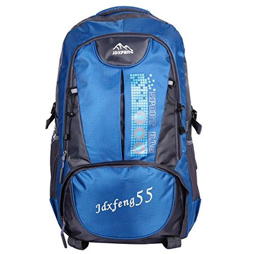 HWJIANFENG 55L Mochilas de Acampada Multifuncional Mochilas de Senderismo de Nailon Impermeable Mochilas de Ciclismo para Viajes Unisex,color negro azul