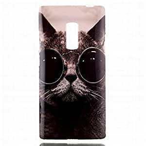 LEMORRY OnePlus 2 / OnePlus Two Cover Case, Cute Cat [Soft Bumper] TPU Rubber Silicone Clear Slim Lightweight Protective Skin