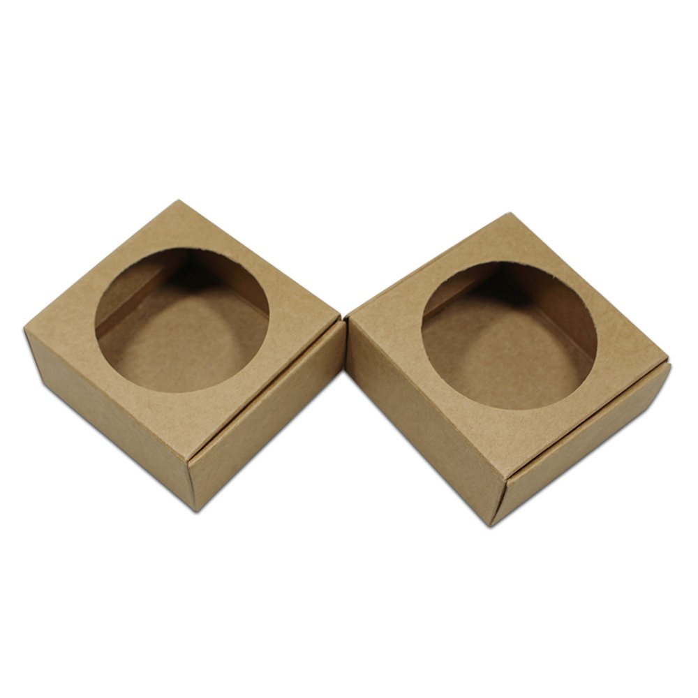 30Pcs Brown Kraft Paper Boxes with Round Hollow Out Window Reusable Paper Packaging Box for Cake Crafts Gifts Handmade Soap Wedding Party Favor Small 7.2x7x3.2cm (2.83x2.75x1.26)