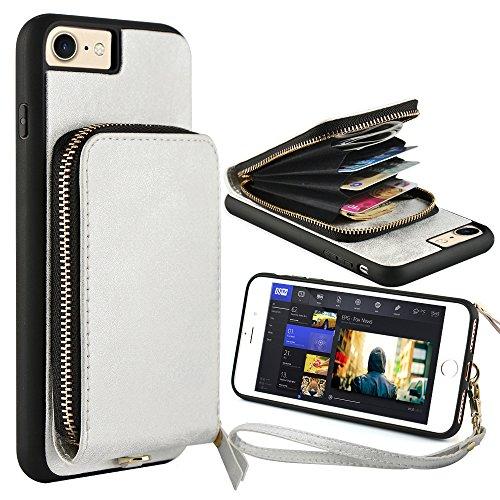Zipper Strap Detachable (iPhone 6 Zipper Wallet Case,iPhone 7 Wallet Case,JLFCH Leather Zipper Wallet Case Detachable Wrist Strap,Zipper Closure, Fit Apple iPhone 6/7 / 8,4.7 inch,Silver)