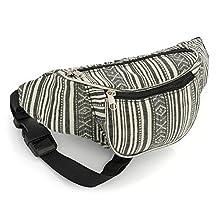Black and White Stripe Design Waist Bag Fanny Pack Money Bum Bag Hip Belt