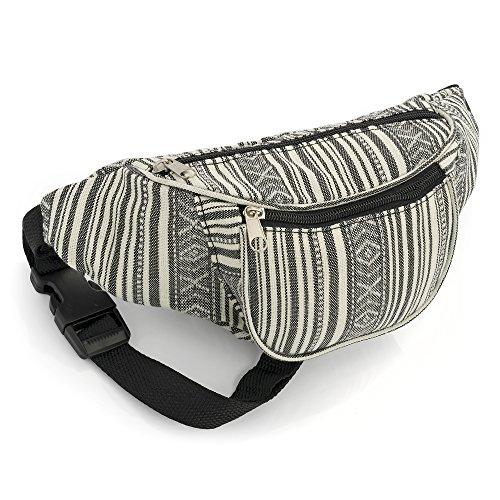 Cinturón negro y blanco con diseño de rayas, bolsa de cintura, paquete de fanny, bolsa de dinero, cinturón de cadera: Amazon.es: Equipaje
