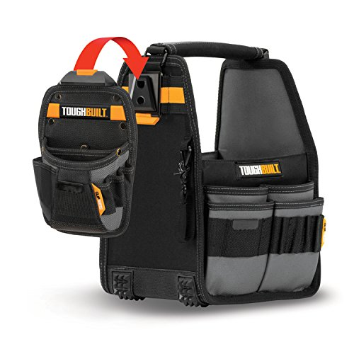 ToughBuilt - 8'' Tote / Tool Bag with ClipTech - 31 Pockets and Loops, Rivet Reinforcement, Extreme-duty Hammer Loop, Includes Tote, Pouch and 2 ClipTech Hubs, Premium Tool Organizer (TB-CT-80-8) by ToughBuilt