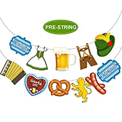 Features: Classic design: The Oktoberfest banner consists of 9 classic Bavarian patterns, and 2 cards printed with letters Oktoberfest and ein prosit. No assemble required: Save time for party preparation, just hang them on the wall, ceiling,...