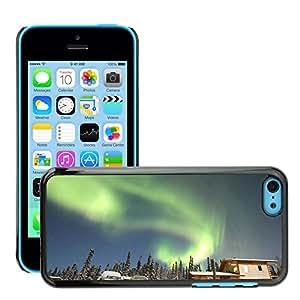 Hot Style Cell Phone PC Hard Case Cover // M00170160 Aurora Alaska House Snow Borealis // Apple iPhone 5C